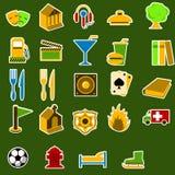 inställda stadssymbolsobjekt stock illustrationer