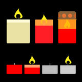 inställda stearinljus Plan stilvektorillustration Fotografering för Bildbyråer