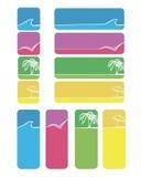 Inställda strandsymboler och stiÑkers Royaltyfri Fotografi