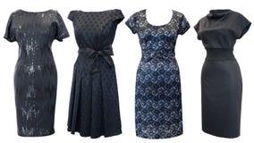 inställda svarta klänningar Arkivbilder