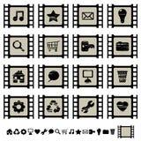 inställda symboler för 1 cellfilm royaltyfri illustrationer