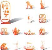 inställda symboler för 117a egypt stock illustrationer