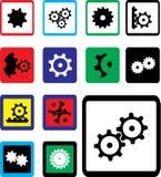 inställda symboler för kugghjul 18b Fotografering för Bildbyråer