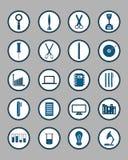 inställda symboler Utbildnings-/affärs-/arbetshjälpmedel/teknologi/S royaltyfri illustrationer