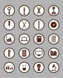 inställda symboler Utbildnings-/affärs-/arbetshjälpmedel/teknologi/S stock illustrationer