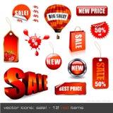 inställda symbolsförsäljningar stock illustrationer