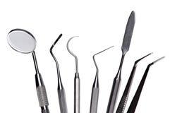inställda tand- instrument för omsorg Royaltyfri Fotografi