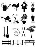 inställda trädgårds- symboler Royaltyfri Bild