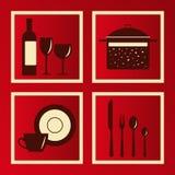 inställda ware för kök objekt royaltyfri illustrationer