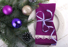 Inställning för julmatställetabell Royaltyfria Bilder