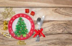 Inställning för jultabellställe festlig bakgrund arkivfoto