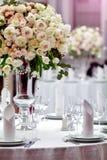 Inställning för matställebrölloptabell royaltyfria foton