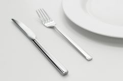 inställning för platta för gaffelknivställe Arkivfoto