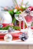 Inställning för tabell för julxmas-helgdagsafton Royaltyfria Bilder
