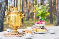 Inställning för tetabell med samovar, äpplen, sötsaker utomhus royaltyfri foto