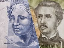 inställning till den brasilianska sedeln av två reais och den chilenska sedeln av 1000 pesos