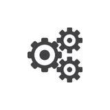Inställningar symbolen, den fasta logoillustrationen för kugghjul, kugge rullar royaltyfri illustrationer