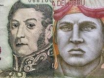 inställningen till den argentine sedeln av fem pesos och den peruanska sedeln av tio sular