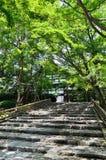 Inställningsbana av den Ryoanji templet, Kyoto Japan Royaltyfria Bilder