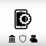 Inställningsparametrar, mobil smartphonesymbol, vektorillustration Royaltyfria Bilder