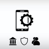 Inställningsparametrar, mobil smartphonesymbol, vektorillustration Royaltyfri Foto