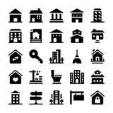 Inst?llda fastighetsymboler royaltyfri illustrationer