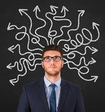 Instability on Blackboard Background. Working Conceptual Business Concept Stock Photo