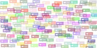 Instagram五颜六色的喜欢 免版税库存照片