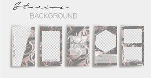 Instagram故事框架模板 社会媒介横幅的大模型 桃红色和灰色抽象布局设计 皇族释放例证