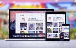 Instagram on the Apple iPhone 7 iPad Pro Apple Watch and Macbook Pro. Varna, Bulgaria - May 23, 2017: Instagram on the Apple MacBook Pro, Instagram app on iPad stock images