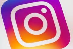 Instagram application icon. New York, USA - December 25, 2018: Instagram application icon on screen closeup. Mobile instagram application royalty free stock photography