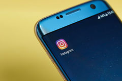 Instagram application icon. New york, USA - June 23, 2017: Instagram application icon on smartphone screen close-up. Instagram app icon with copy space on screen royalty free stock images
