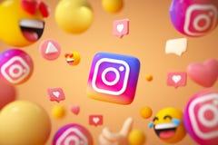 Free Instagram Application Logo Background With Emoji And Floating Objects. Instagram Social Media Platform Stock Photos - 209554503