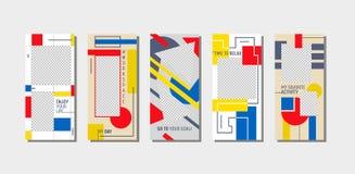 Instagram berättelse Tid som kopplar av den mobila Appsidan Onboard skärmuppsättning Vit röd gul design för rolig modern fyrkant  royaltyfri illustrationer
