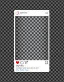 Instagram bloger. Social media photo frame with heart, loupe.Post interface for social media.vector eps10 royalty free illustration