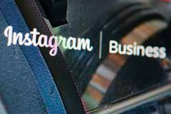 Instagram business page. New york, USA - january 24, 2019: Instagram business page menu on device screen pixelated close up view. Instagram business theme royalty free stock photography