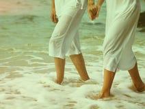 Instagram Colorized Vintage Couple At Beach Legs Portrait Stock Images