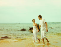 Instagram Colorized Vintage Couple On Beach Portrait Royalty Free Stock Photos