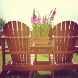 Instagram of deck chairs in the summer sunlight Royalty Free Stock Photography