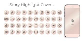 Instagram destaca histórias que as tampas alinham ícones Aperfeiçoe para bloggers Ajuste de 40 tampas dos destaques r ilustração royalty free