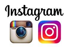 Instagram et nouveaux logos d'Instagram ont imprimé sur le papier Image libre de droits