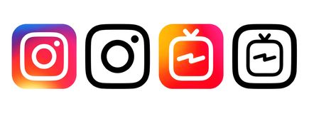 Instagram-Farbe und schwarze Ikonen mit Farbe a Instagram Fernsehen IGTV vektor abbildung