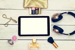 Instagram filtr Mody mockup z biznesowymi dam akcesoriami Fotografia Royalty Free