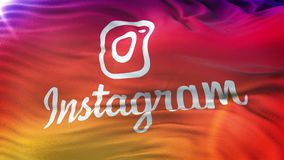 Instagram flag waving on sun. Seamless loop with highly detailed fabric texture. Angled view of a realistic 4K flag of the Instagram waving on sun. Seamless loop
