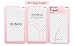 Instagram-Geschichtenrahmen-Entwurfsschablone in der rosafarbenen rosa Farbe weich und weiblich für kosmetische Produktförderung  lizenzfreie abbildung
