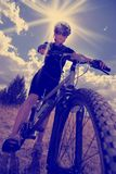 Instagram of Girl Mountain Biking and Sunshine Royalty Free Stock Image