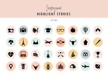 Instagram Highlights Stories Covers Icons collection. Fully editable, scalable vector file. Instagram Highlights Stories Covers Icons collection. A fully royalty free illustration