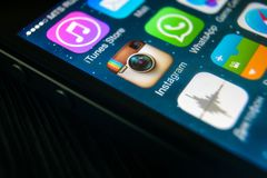 Instagram icon on IPhone screen close-up. Moscow - March 11, 2019: Instagram logo on IPhone screen close-up. Application icon of Instagram social media on royalty free stock image