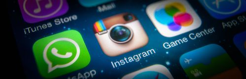 Instagram icon on IPhone screen close-up stock photo