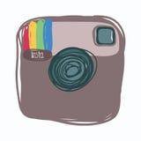 Instagram, icona dei media sociali, scarabocchio di colore Fotografia Stock Libera da Diritti